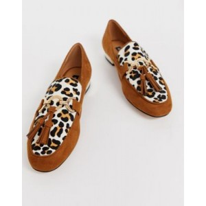 River Island loafers with tassel detail in leopard print