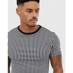 River Island muscle fit crew neck t-shirt in black and white stripe