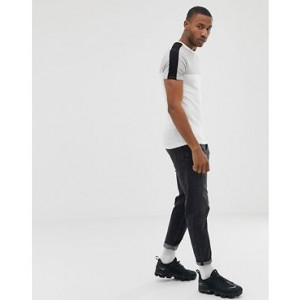 River Island muscle fit t-shirt with colour block in grey