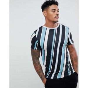 River Island muscle fit t-shirt with diagonal stripes in blue