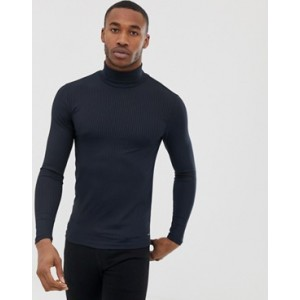 River Island muscle fit top with roll neck in navy