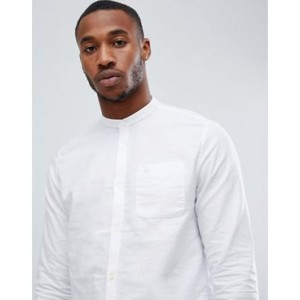 River Island oxford shirt with grandad collar in white