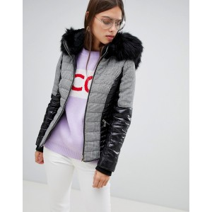 River Island padded jacket with faux fur collar in check