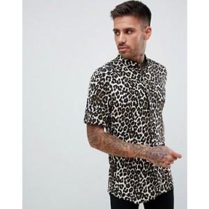 River Island regular fit shirt with leopard print in stone