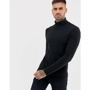 River Island roll neck long sleeve top in black