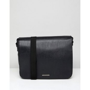 River Island satchel with flapover in black