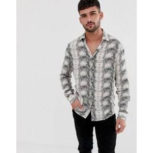 River Island shirt with snake print in ecru