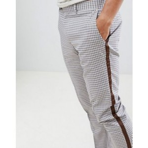 River Island skinny checked pants with taping in ecru