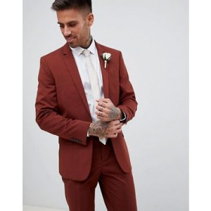 River Island skinny fit suit jacket in rust