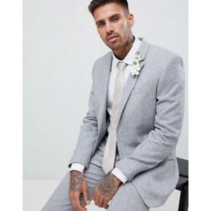 River Island skinny fit suit jacket with herringbone print in gray