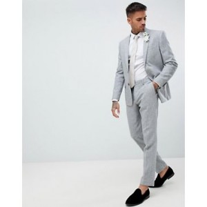 River Island skinny fit suit pants with herringbone print in gray
