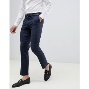River Island skinny fit wedding suit pants in navy check