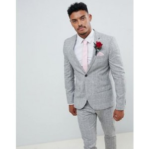 River Island skinny suit jacket in light gray