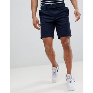River Island Slim Fit Chino Shorts With Belt In Navy
