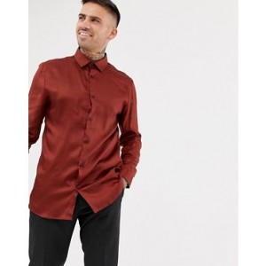 River Island slim fit sateen shirt in rust