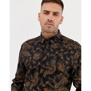 River Island slim fit shirt with vintage dark print in brown