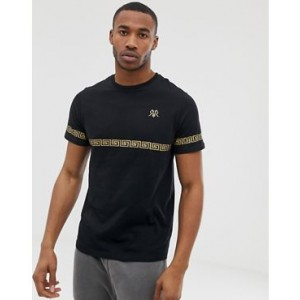River Island slim fit t-shirt with gold print in black