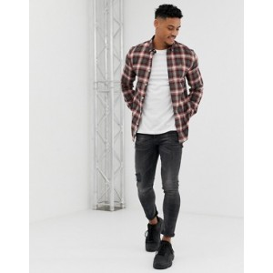 River Island slim shirt in black and red check