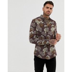 River Island slim shirt in red floral