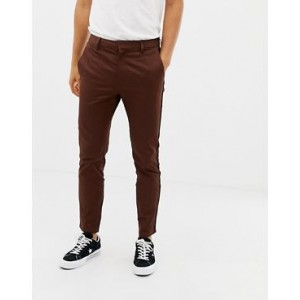 River Island smart chinos with piping detail in tan