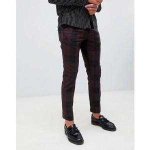 River Island smart pants in burgundy check