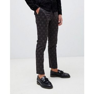 River Island smart pants with geo print in gray