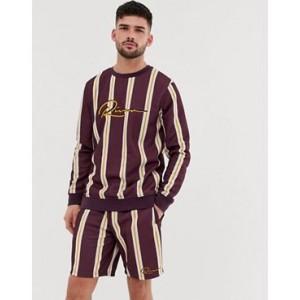 River Island stripe sweatshirt with embroidery in burgundy