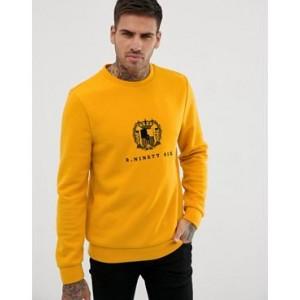 River Island sweatshirt with regal print in yellow