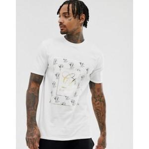 River Island t-shirt with gold foil carpe diem print in white