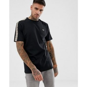 River Island t-shirt with tape detail in black