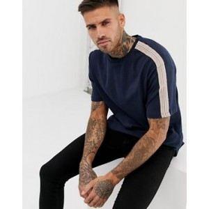 River Island t-shirt with tape detail in navy