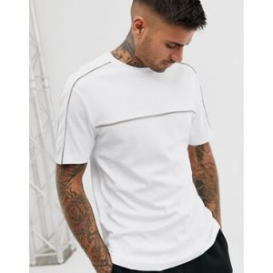 River Island t-shirt with tape detail in white