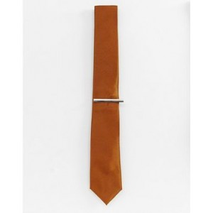 River Island wedding textured tie with tie clip in bronze