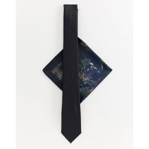River Island tie with cherub print pocket square in black