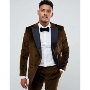 River Island velvet suit jacket in gold