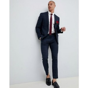 River Island wedding suit jacket in navy check