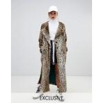 Story Of Lola Faux Fur Longline Leopard Print Coat