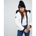 Superdry Glacier padded biker jacket with faux fur hood