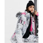 Superdry snow ski jacket with logo and contrast internal in multi print