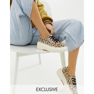 Superga 2287 exclusive leopard faux pony wedge trainers
