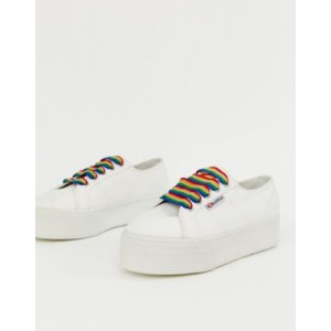 Superga 2790 exclusive white chunky trainers with rainbow laces