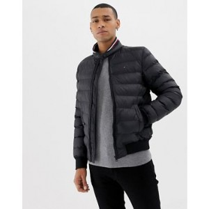 Tommy Hilfiger arlos sonora filled puffer jacket icon flag logo and stripe collar in black