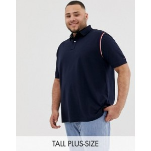Tommy Hilfiger Big & Tall Icon Tape Trim Pique Polo Regular Fit in Navy