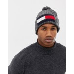 Tommy Hilfiger bobble big flag beanie in dark gray