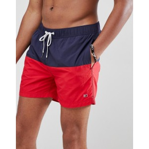 Tommy Hilfiger color block swimshorts with flag logo in navy/red