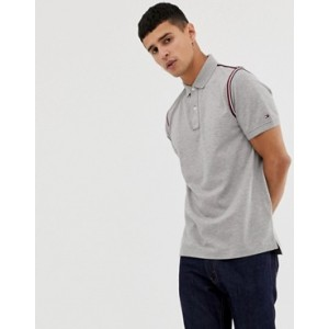 Tommy Hilfiger icon tape trim pique polo slim fit in grey marl