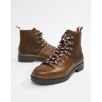 Tommy Hilfiger leather outdoor hiking boot in brown