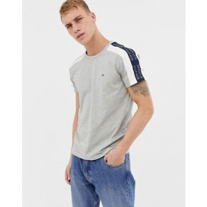 Tommy Hilfiger sports capsule side tape logo t-shirt in gray marl