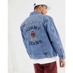 Tommy Jeans 6.0 limited capsule denim jacket with large crest back detail in mid wash denim