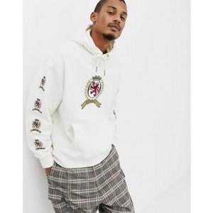 Tommy Jeans 6.0 limited capsule hoodie with repeat crest logo in white